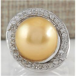 0.60 CTW Natural 13.47mm Gold South Sea Pearl Diamond Ring 14K White Gold