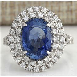 6.31 CTW Natural Sapphire And Diamond Ring In 18K White Gold