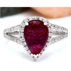 2.13 CTW Natural Ruby 14K Solid White Gold Diamond Ring