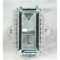 7.27 CTW Aquamarine 18K White Gold Diamond Ring