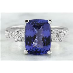 5.40 CTW Tanzanite 18K White Gold Diamond Ring