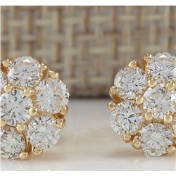 1.45 CTW Natural Diamond Earrings 18K Solid Yellow Gold