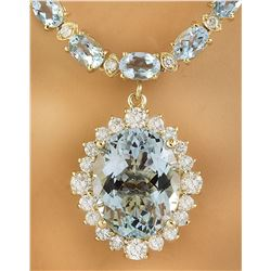 41.26 CTW Aquamarine 18K Yellow Gold Diamond Necklace