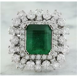 6.63 CTW Emerald 18K White Gold Diamond Ring