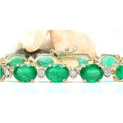 27.98 CTW Natural Emerald 18K Solid Yellow Gold Diamond Bracelet
