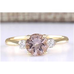 1.20 CTW Natural Morganite And Diamond Ring In 18K Solid Yellow Gold