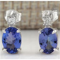 1.73 CTW Natural Blue Tanzanite And Diamond Earrings 18K Solid White Gold