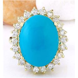 8.80 CTW Natural Turquoise 18K Solid Yellow Gold Diamond Ring
