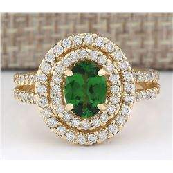 2.25 CTW Natural Tsavorite And Diamond Ring In 18K Yellow Gold
