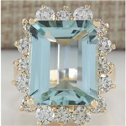 12.57 CTW Natural Aquamarine And Diamond Ring In 18K Yellow Gold