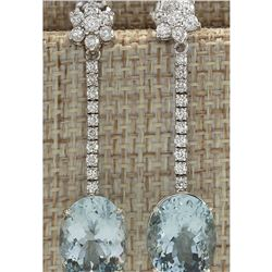 11.69 CTW Natural Aquamarine And Diamond Earrings 14K Solid White Gold