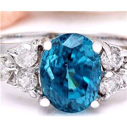 6.40 CTW Natural Zircon 18K Solid White Gold Diamond Ring