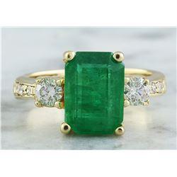 4.50 CTW Emerald 18K Yellow Gold Diamond Ring
