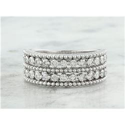 0.66 CTW Two Row Diamond 18K White Gold Ring