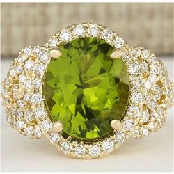 8.02 CTW Natural Peridot And Diamond Ring In 18K Yellow Gold
