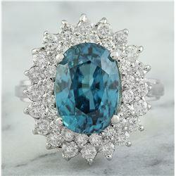 8.52 CTW Zircon 18K White Gold Diamomd Ring
