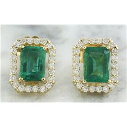 2.37 CTW Emerald 14K Yellow Gold Diamond Earrings
