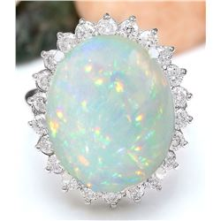 14.41 CTW Natural Opal 14K Solid White Gold Diamond Ring