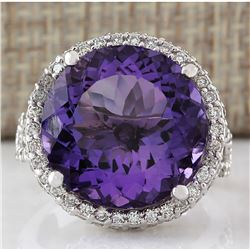 13.81 CTW Natural Amethyst And Diamond Ring In 18K Solid White Gold