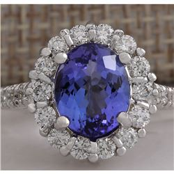 4.54 CTW Natural Blue Tanzanite And Diamond Ring 18K Solid White Gold