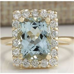 4.54 CTW Natural Aquamarine And Diamond Ring In 14K Solid Yellow Gold