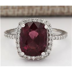 4.62 CTW Natural Garnet And Diamond Ring In 18K White Gold