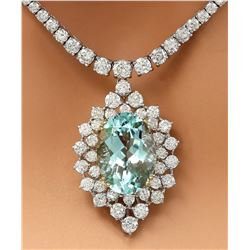 22.00 CTW Natural Aquamarine 18K Solid White Gold Diamond Necklace