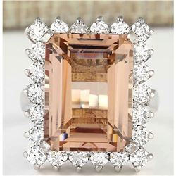 15.08 CTW Natural Morganite And Diamond Ring In 18K White Gold