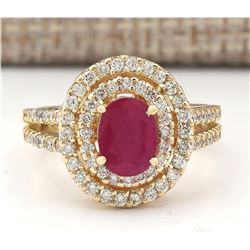 3.08 CTW Natural Ruby Ring In 14k Yellow Gold