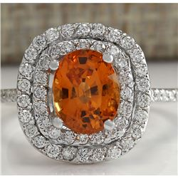 3.13 CTW Natural Orange Sapphire And Diamond Ring In18K White Gold