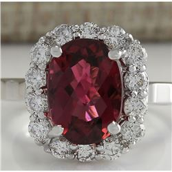 4.73 CTW Natural Pink Tourmaline And Diamond Ring 18K Solid White Gold