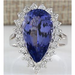 7.26 CTW Natural Tanzanite And Diamond Ring In 18K White Gold