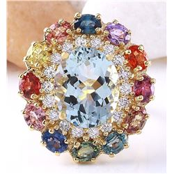 9.36 CTW Natural Aquamarine, Sapphire 14K Solid Yellow Gold Diamond Ring