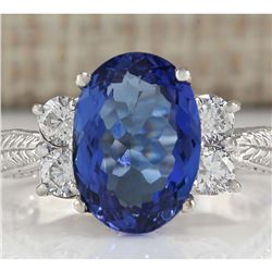 5.11 CTW Natural Tanzanite And Diamond Ring In 14K White Gold