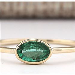0.50 CTW Natural Emerald Ring In 18K Yellow Gold