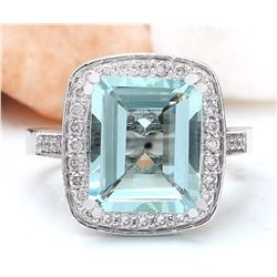 4.00 CTW Natural Aquamarine 14K Solid White Gold Diamond Ring