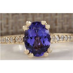 1.96 CTW Natural Tanzanite And Diamond Ring 18K Solid Yellow Gold