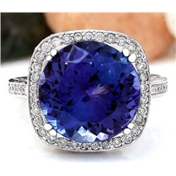 14.79 CTW Natural Tanzanite 18K Solid White Gold Diamond Ring