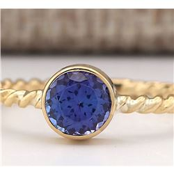 1.00 CTW Natural Blue Tanzanite Ring 18K Solid Yellow Gold