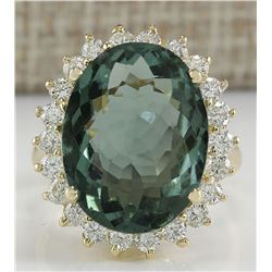 9.51 CTW Natural Tourmaline And Diamond Ring In 18K Solid Yellow Gold