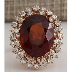17.99 CTW Natural Hessonite Garnet And Diamond Ring 18K Solid Rose Gold