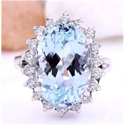 7.90 CTW Natural Aquamarine 14K Solid White Gold Diamond Ring