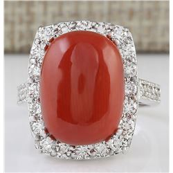 12.32 CTW Natural Coral And Diamond Ring In 18K White Gold