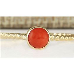1.00 CTW Natural Coral Ring In 18K Yellow Gold