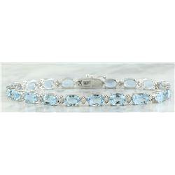 15.20 CTW Aquamarine 14K White Gold Diamond Bracelet
