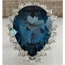 17.36CTW Natural London Blue Topaz And Diamond Ring In18K Solid White Gold