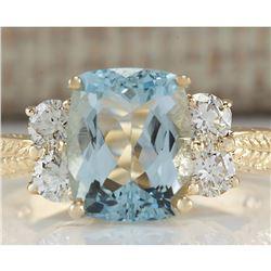 3.67 CTW Natural Aquamarine And Diamond Ring In 14K Yellow Gold