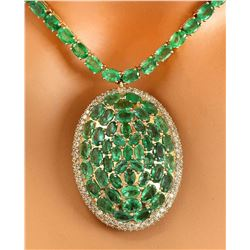53.00 CTW Natural Emerald 18K Solid Yellow Gold Diamond Pendant Necklace
