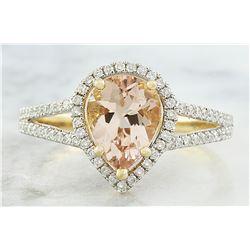 2.32 CTW Morganite 14K Yellow Gold Diamond Ring