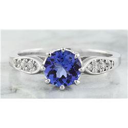1.21 CTW Tanzanite 18K White Gold Diamond Ring
